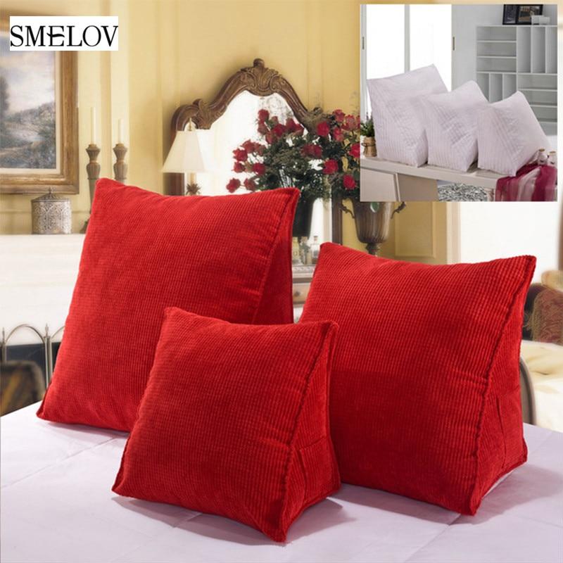 Cojín de apoyo Triangular suave grande sólido de algodón para oficina, sofá cama Tatami lumbar, cojín de cintura, decoración de almohada verde