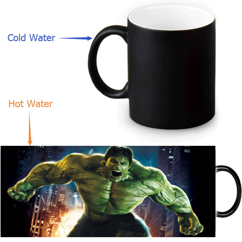 Increíble taza mágica de Hulk, taza con foto personalizada que cambia de Color, taza de café de 350 ml/12 oz, Taza de leche de cerveza, regalo de Halloween