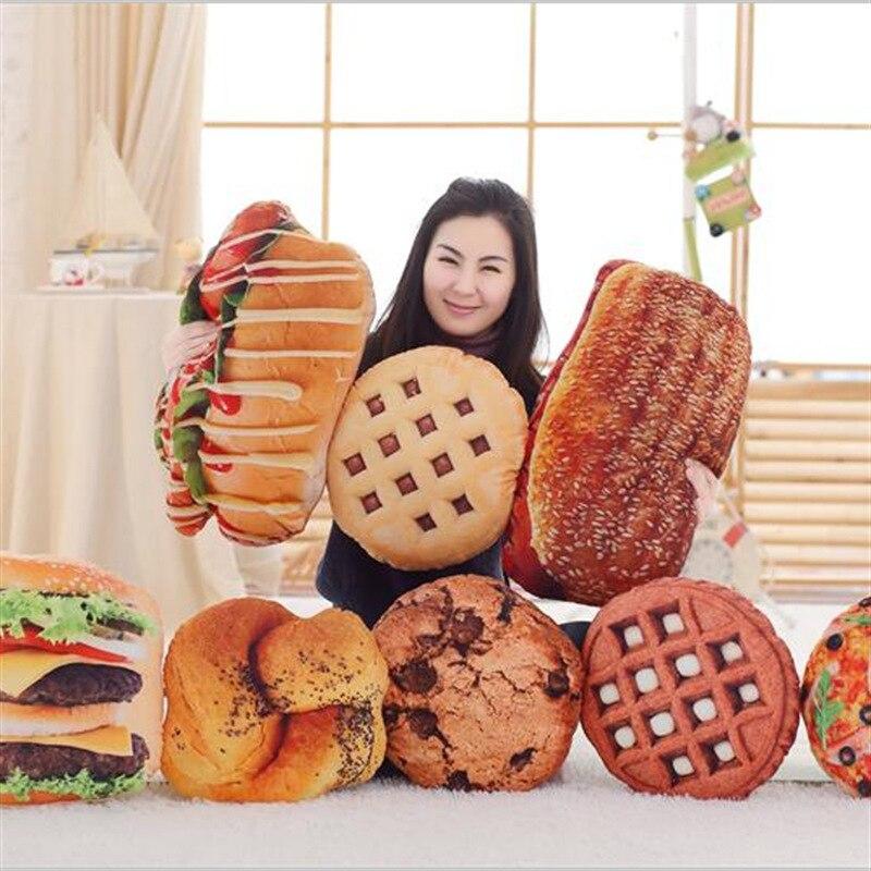 Новинка, 1 шт., креативная 3D-печать, имитация печенья, плюшевый хлеба, хот-догов, гамбургеров, пиццы, игрушечная подушка, детский Декор, подаро...