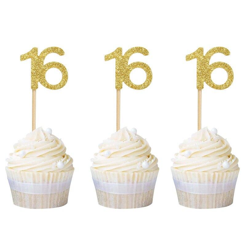 12 stücke Gold Glitter Anzahl 16 Cupcake Topper 16th Geburtstag Feier Party Dekore Süße 16 Süße Sechzehn Kuchen Topper