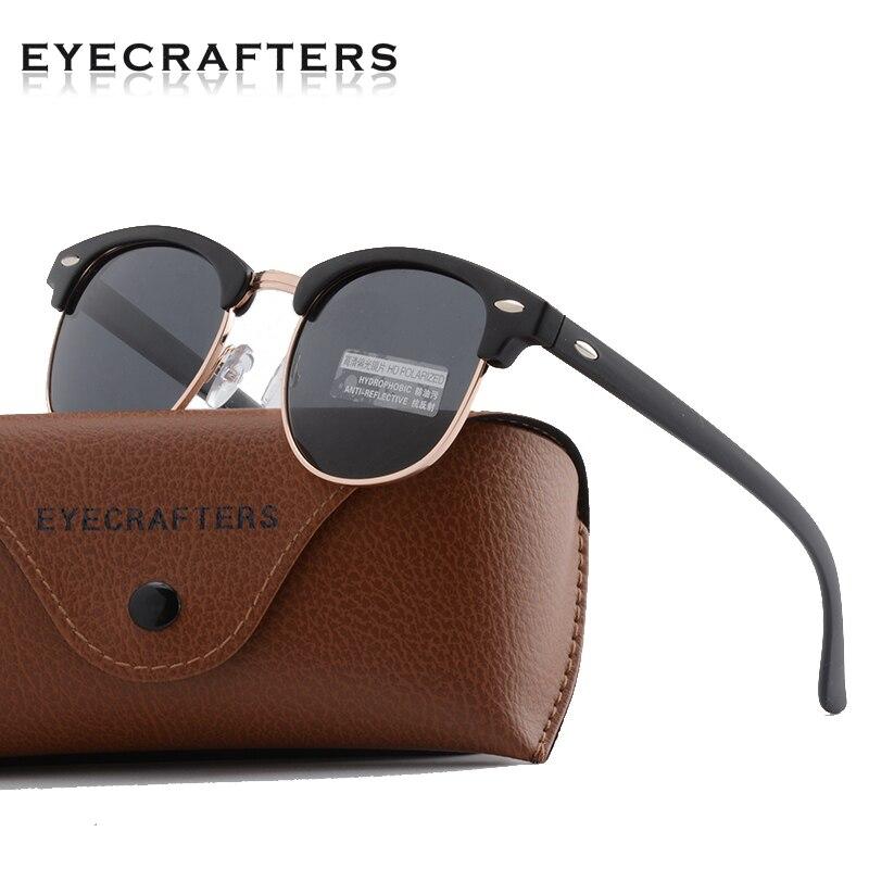Classic Half Frame Polarized Sunglasses Men Women Retro Semi Rimless Rimmed Rivet Polaroid Lens Brand Design Sun Glasses Oculos