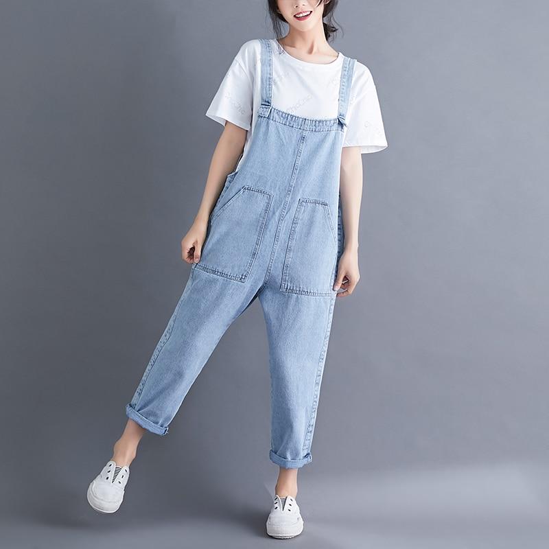 Women's Casual Loose Denim Overalls Lady's Strap Harem Jeans Pocket Ankle-Length Pants For Woman women s casual loose denim overalls lady s strap harem jeans pocket ankle length pants for woman