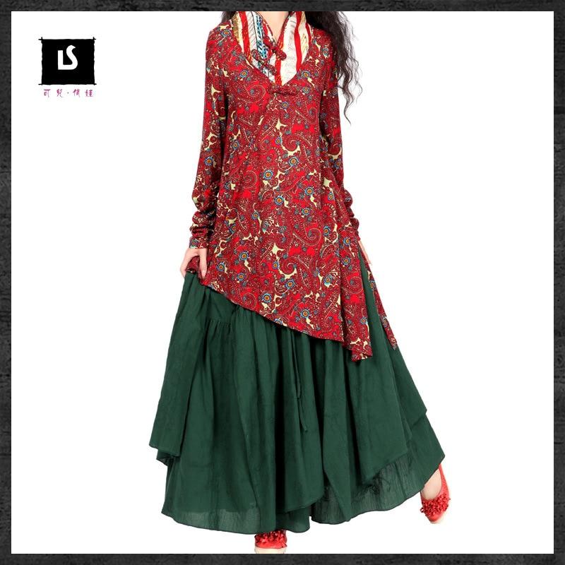 Vintage 70s ethnic long dark green skirt 2020 women female autumn spring Mexican style brand expansion skirt longuette