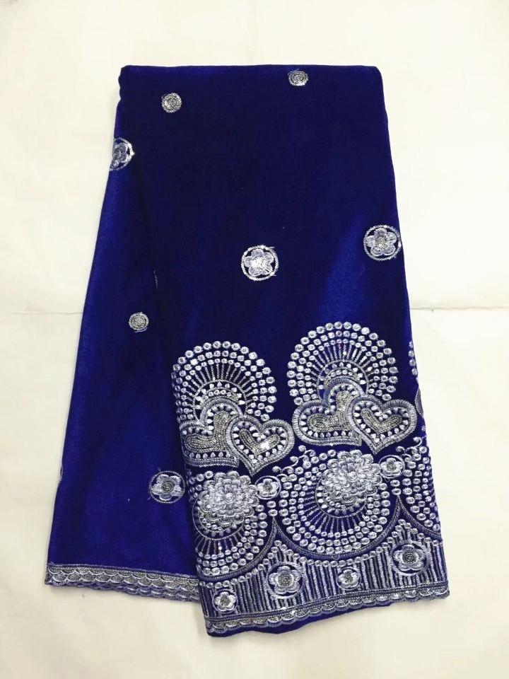 5 yardas/pc moda azul real velveteen encaje material africano suave terciopelo encaje tela con lentejuelas plateadas para la ropa JV12-2