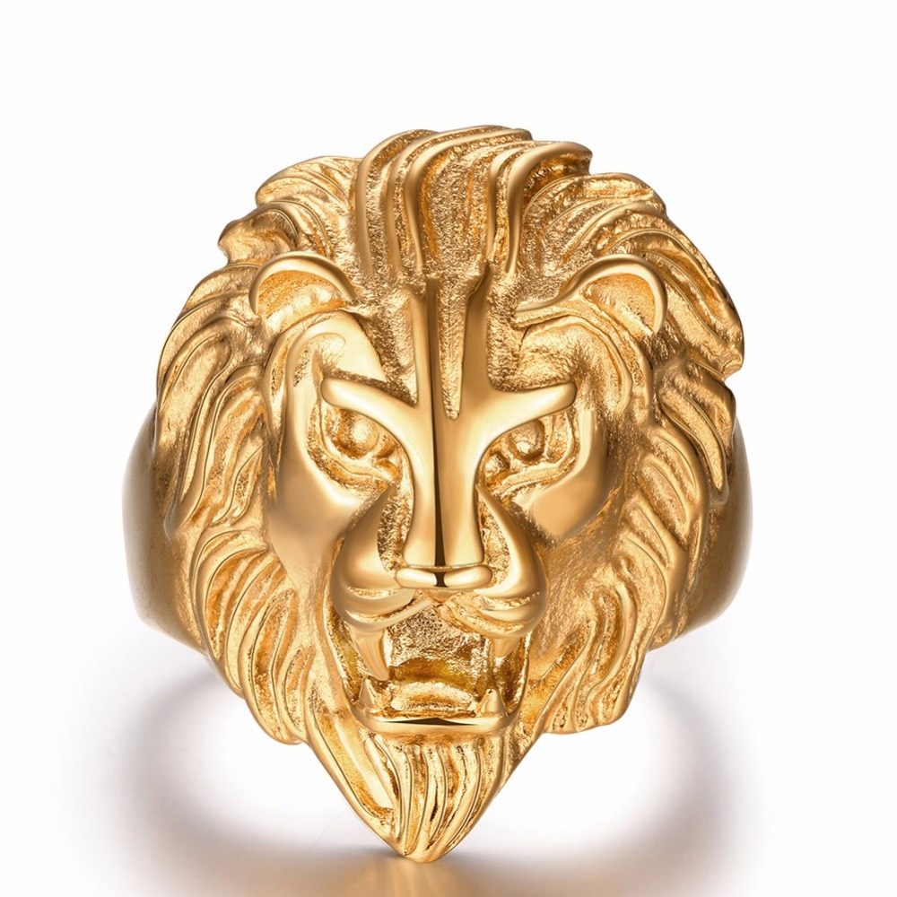 Cabeza de león feroz, anillos de oro para hombres, granate, diamantes de imitación, Color dorado, joyería para adolescentes, para hombres, mujeres, decoraciones, anillos de plata para mujeres
