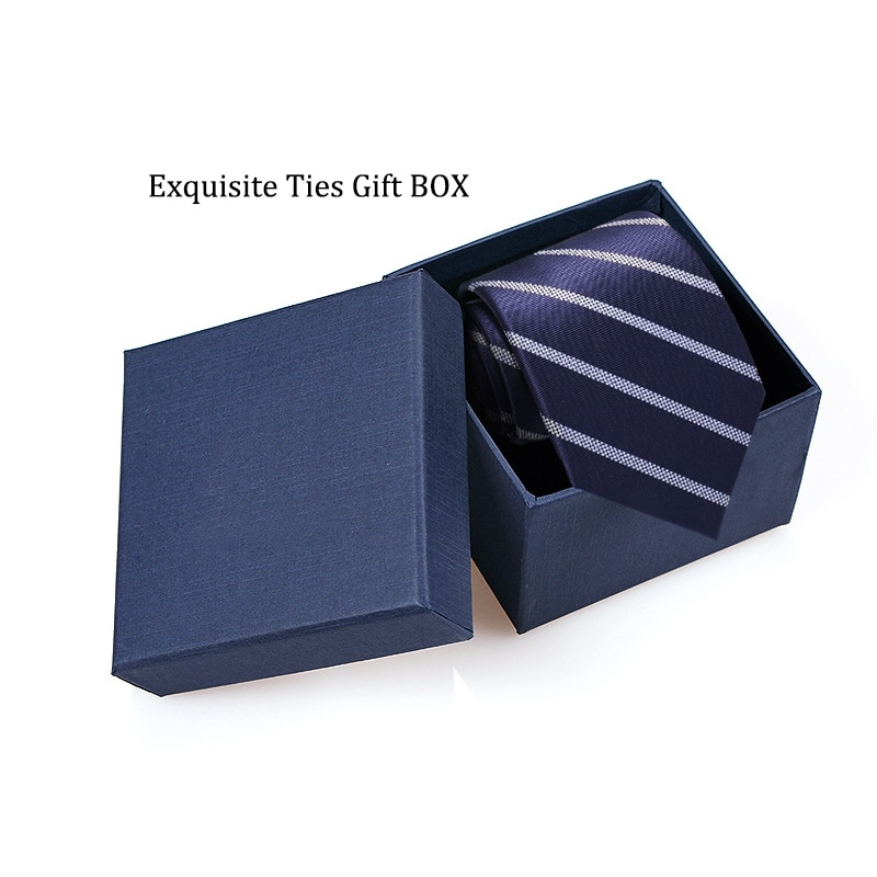 Mens Blue Striped Ties for Men 8cm Polyester Silk Neckties Casual tie Business Neckwear Corbatas Wedding Party tie With Gift Box