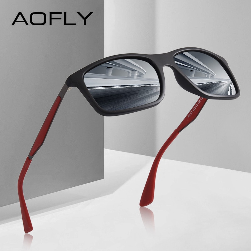 AOFLY BRAND DESIGN Classic Polarized Sunglasses Men TR90 Square Frame Sun Glasses Male Driving Goggles UV400 Eyewear AF8082