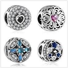 YANXIZAO Night sky Jewelry Making Handmade Flowers Diy Beads Fit  Pulseira Pandora Bracelet Charms Silver 925 Original Berloque