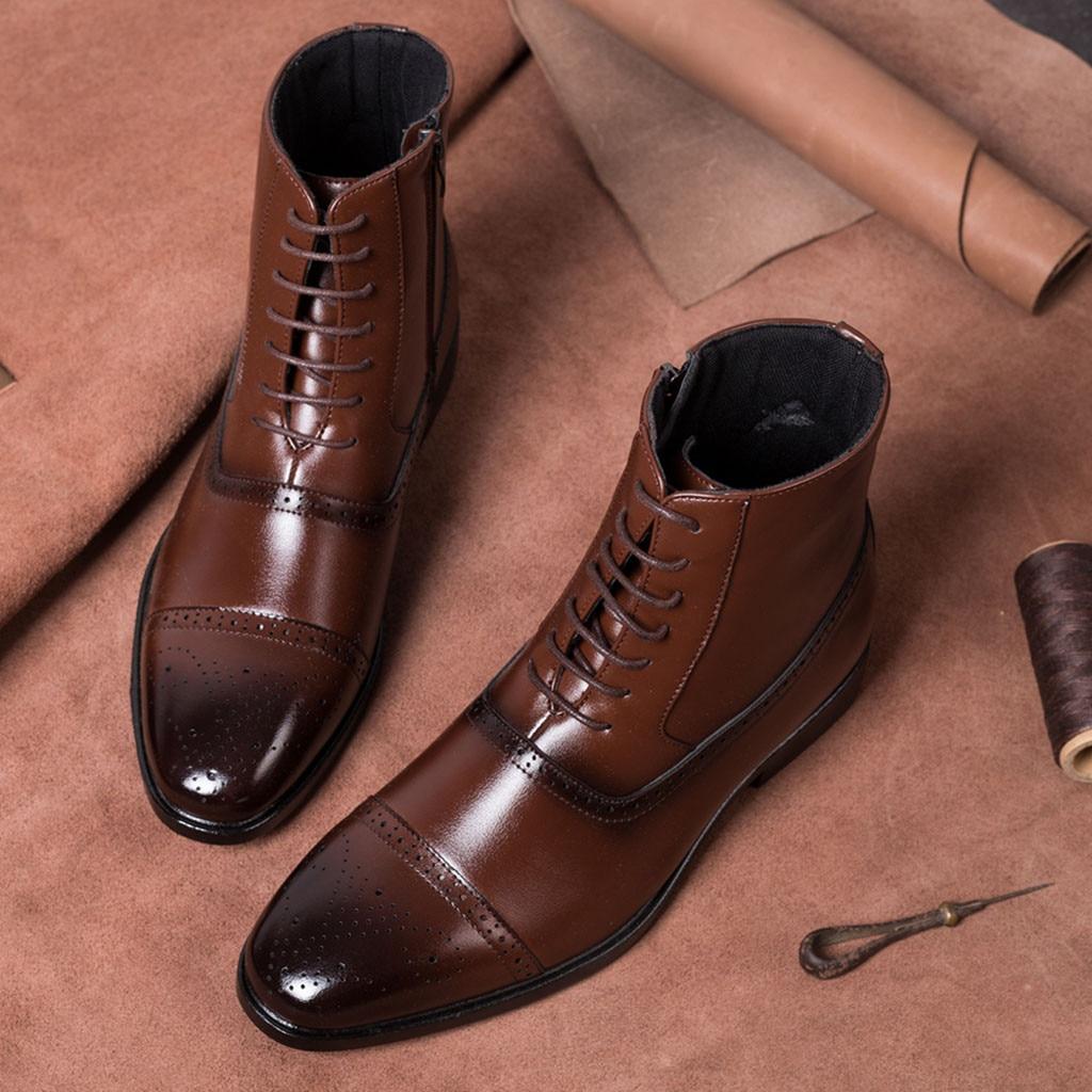 Botas de hombre de diseño de lujo, botines brillantes para hombre, botines Martin de alto grado con cremallera, zapatos café negro, botas básicas para hombres