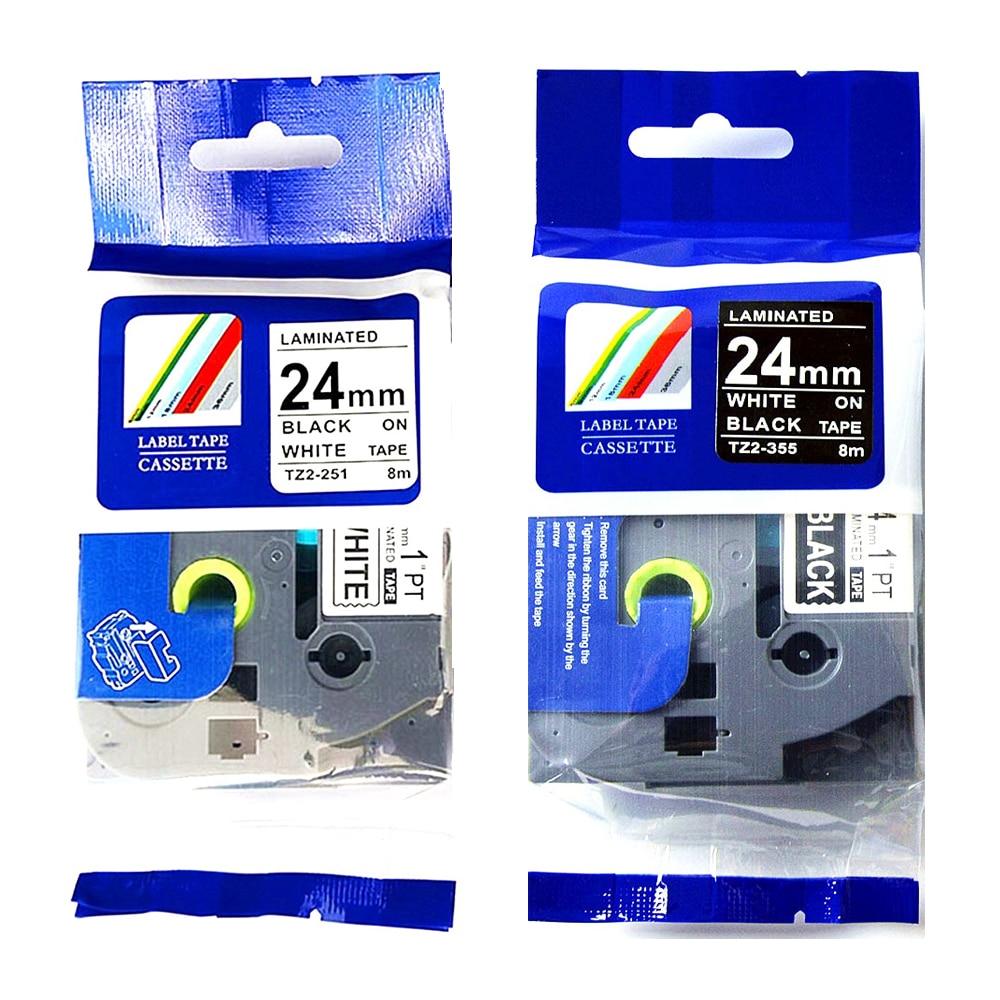 4 Uds cintas de etiquetas Brother p-touch cintas de impresora 24mm Blanco sobre negro TZe cintas negro sobre blanco TZe-251 TZe-355 tze251 tze355