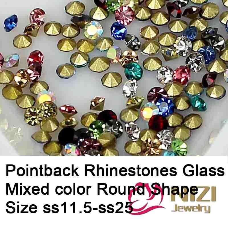 Diamantes de imitación Pointback ss11.5-ss25, Material de vidrio, forma redonda, Color mezclado, cuentas de Strass, Perfact para la fabricación de joyas