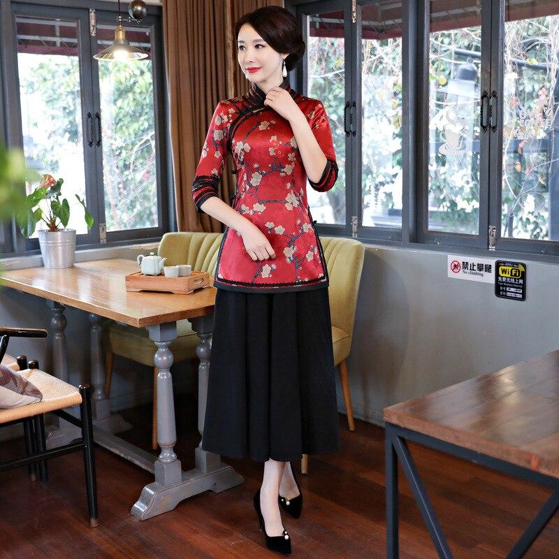 Spring Womens Blouse Skirt Sets Traditional Chinese 2pc Short Sleeve Shirt suit Mandarin Collar Cheongsam Dress Size S-XXXL