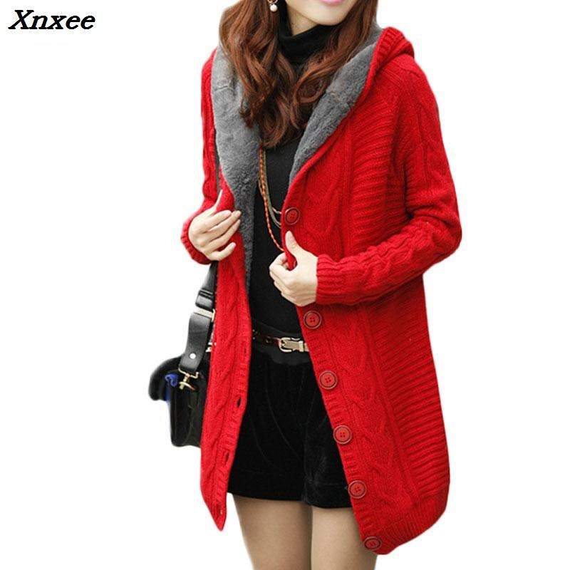 2020nuevo cárdigan de invierno con capucha, suéter de cachemira para Mujer, abrigo rojo blanco, suéter grueso cálido para Mujer, ropa de punto femenina de manga larga