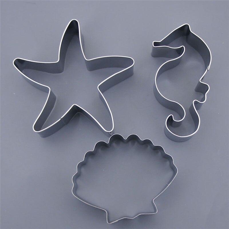 3 unids/set galletas de Navidad molde Fondant molde de pastel de Chocolate de mar estrella de mar conchas de mar caballo molde para hornear DIY herramientas de decoración