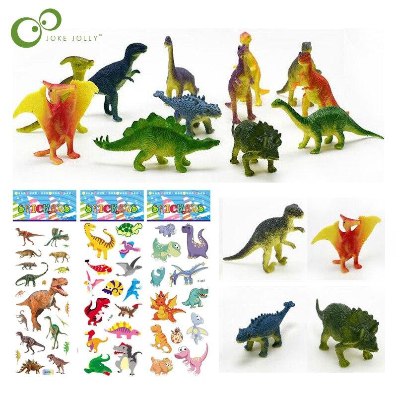 Figuras de dinosaurios WYQ, modelo de 12 Uds. Con 5 uds. De pegatinas, regalos de animales bonitos, juguetes para niños, pasatiempos para niños, figuras de dinosaurios pequeñas de plástico