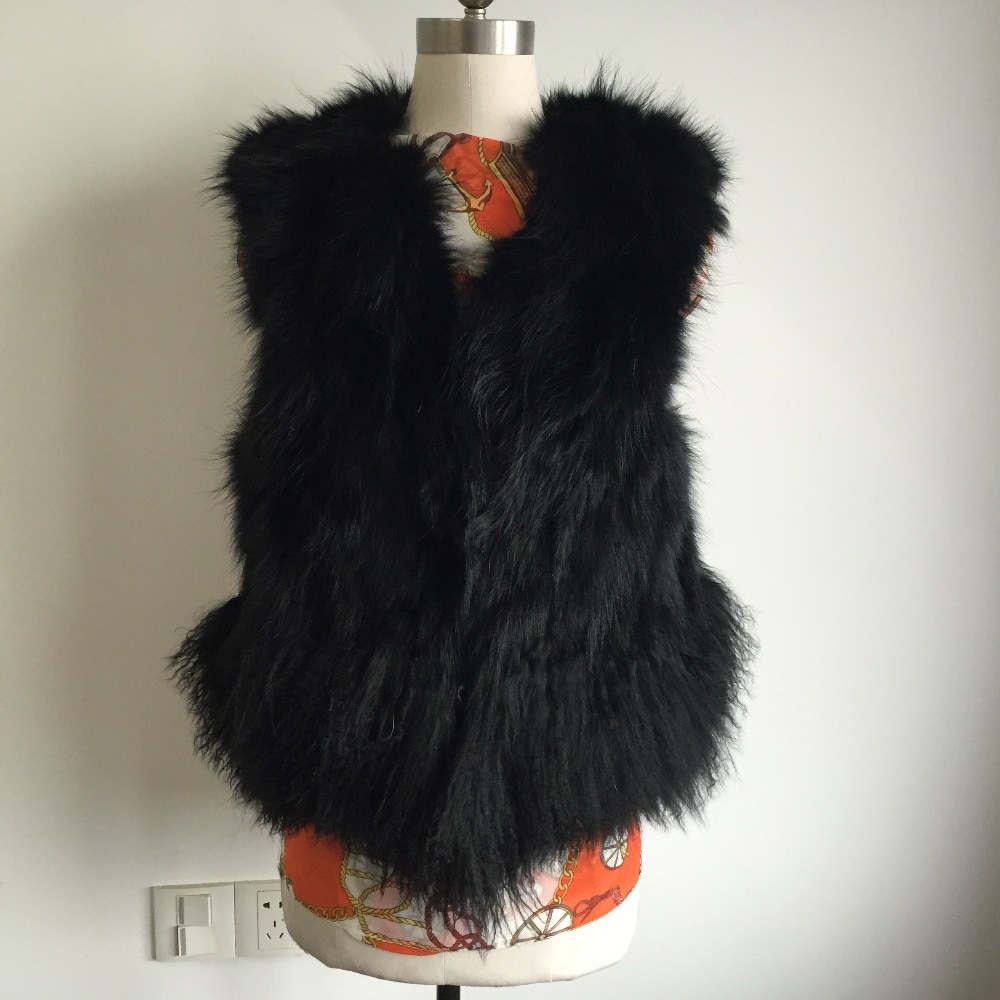 ¡Novedad! Chaleco de piel de zorro real natural y piel de oveja de Mongolia, envío gratis, Chaleco de piel de oveja marrón claro DFP541
