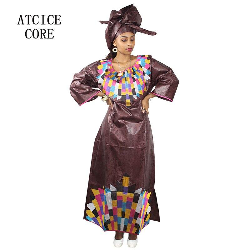 Vestidos africanos para mujeres 2018 diseño de moda nuevo bazin riche africano diseño bordado vestido largo LA117