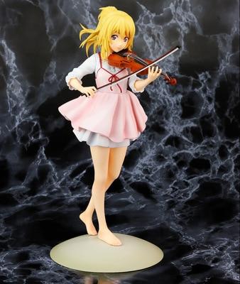 23 см ваша лежа в апреле kaori miyazono скрипка фигурка Аниме Кукла ПВХ Коллекционные Фигурки игрушки brinquedos для подарков