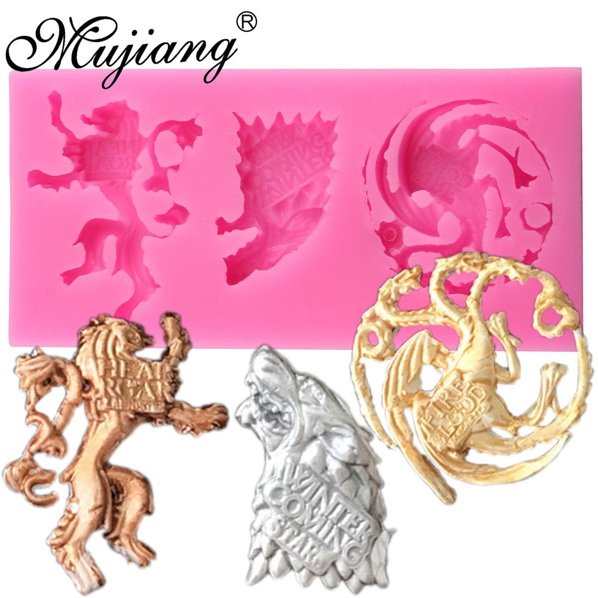 Mujiang jogo dos tronos emblemas da família bolo moldes de silicone fondant ferramentas de decoração do bolo lobo leão doces molde de chocolate