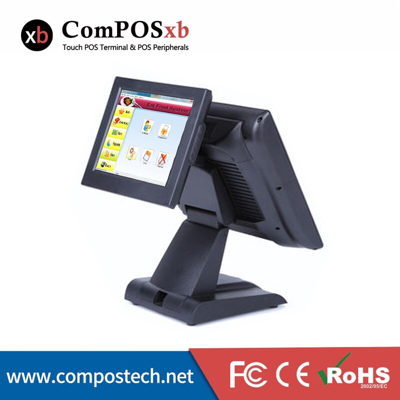 Windows Pos System 15 Inch Dual Screen POS Terminal Touch Computer Double Screen All In One Pos System Restaurant Cash Register