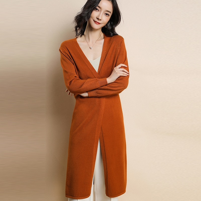 2018 Otoño Invierno suéter de cachemira mujer Kimono largo Cardigan Casual cálido manga larga abrigo coreano de punto Chaquetas tipo Poncho