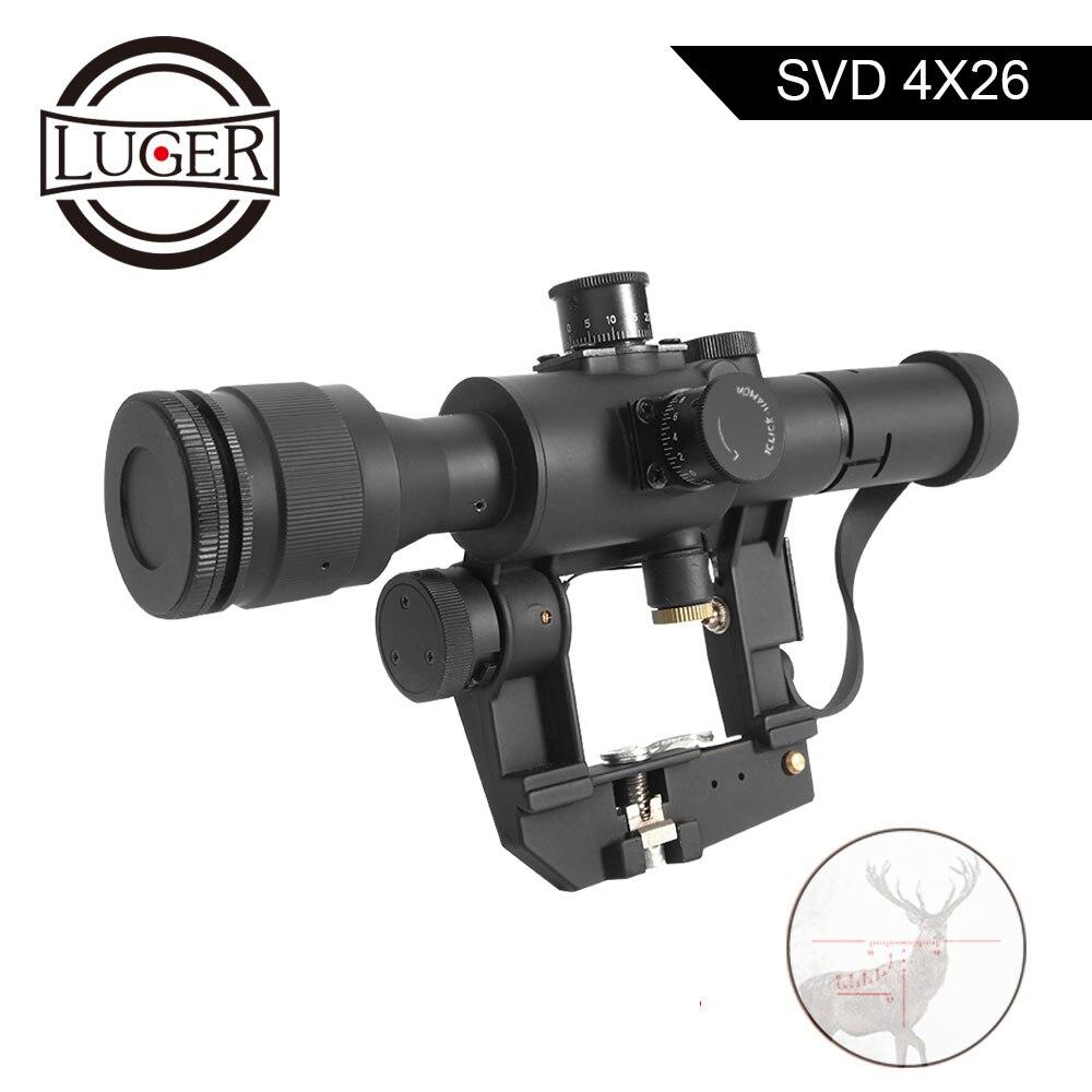 LUGER taktik SVD Dragunov optik 4x26 kırmızı işıklı tüfek kırmızı nokta görüşü tüfek kapsamları Airsoft hava tabancası avcılık