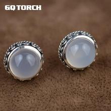 Gqtorche 925 Sterling Silve blanc calcédoine pierre naturelle boucles doreilles pierre gemme fait à la main Vintage Thai argent fleur sculpté