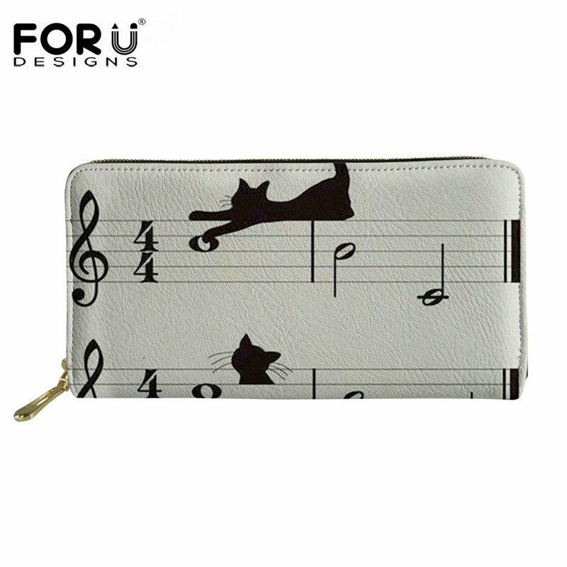 Forudiseñs Cartera de marca de diseño para mujer con patrón de gato y nota musical, cartera larga multifunción para chicas, carteras de cuero PU de moda para chicas