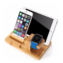 Desktop Mobile Phone Holder Stand for iPad Tablet Bracket Real Bamboo wood Charging Stand for Apple