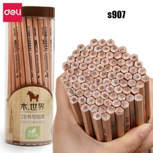 Deli 50 pièces/ensemble HB 2B crayon dessin art dessin créatif enfants examen en gros en bois hexagonal crayons S907 S908
