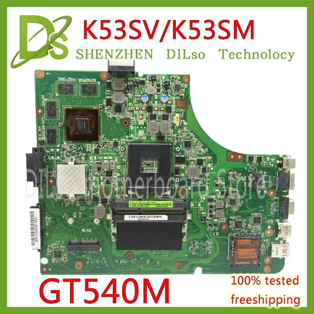 KEFU K53SV motherboard for ASUS K53SM K53S A53S X53S P53S K53SJ K53SC laptop motherboard rev3.0/3.1/2.9  GT540M Test