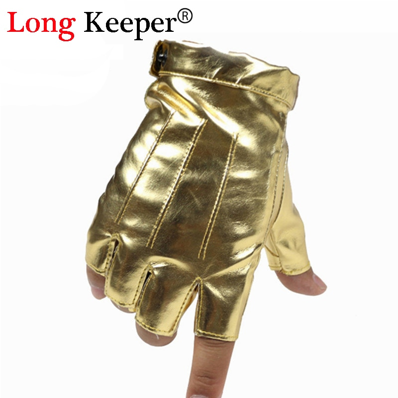 Mode hommes gants en cuir sans doigts gant pour danse fête spectacle Sport Fitness Luvas pour hommes noir or argent mitaines M139