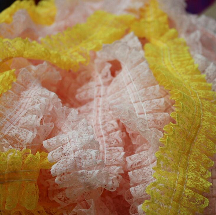30 metros/lote 4.5 cm Malha guarnição do laço Fold rendas acessórios DIY Puro cor decorativo Tela do laço plissado Z332