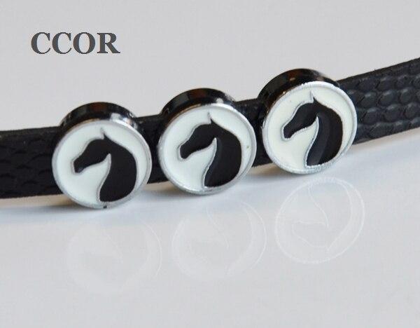 CCOR de 50 piezas 8 MM esmalte cabeza de caballo dijes deslizantes DIY accesorio ajuste 8mm pulsera perro mascota collares tiras llavero ¡CD0147