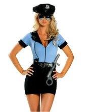 Nouvelle Police fantaisie Halloween Costume Sexy flic tenue femme Cosplay Sexy érotique Lingerie Police Costumes pour femmes robe + chapeau + ceinture