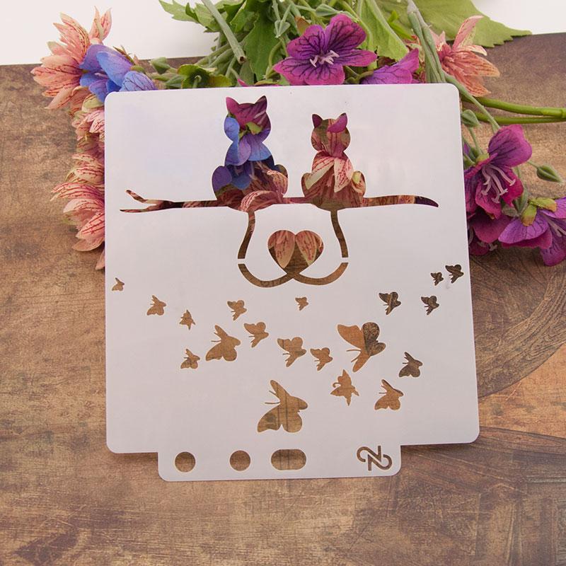 "13 см 5,1 ""Lover Cat Heart DIY Многослойные трафареты настенная живопись раскраска для скрапбукинга рельефная декоративная альбомная бумага шаблон карты"