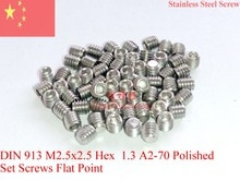 Tornillo de acero inoxidable M2.5X2.5 DIN 913 tornillo de punta plana A2-70 pulido 100 Uds