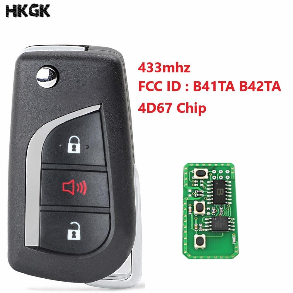 3 botones de mando a distancia de coche para Toyota Camry Corolla Hilux 3 botones 4D67 433,92 mhz FCC ID B41TA B42TA