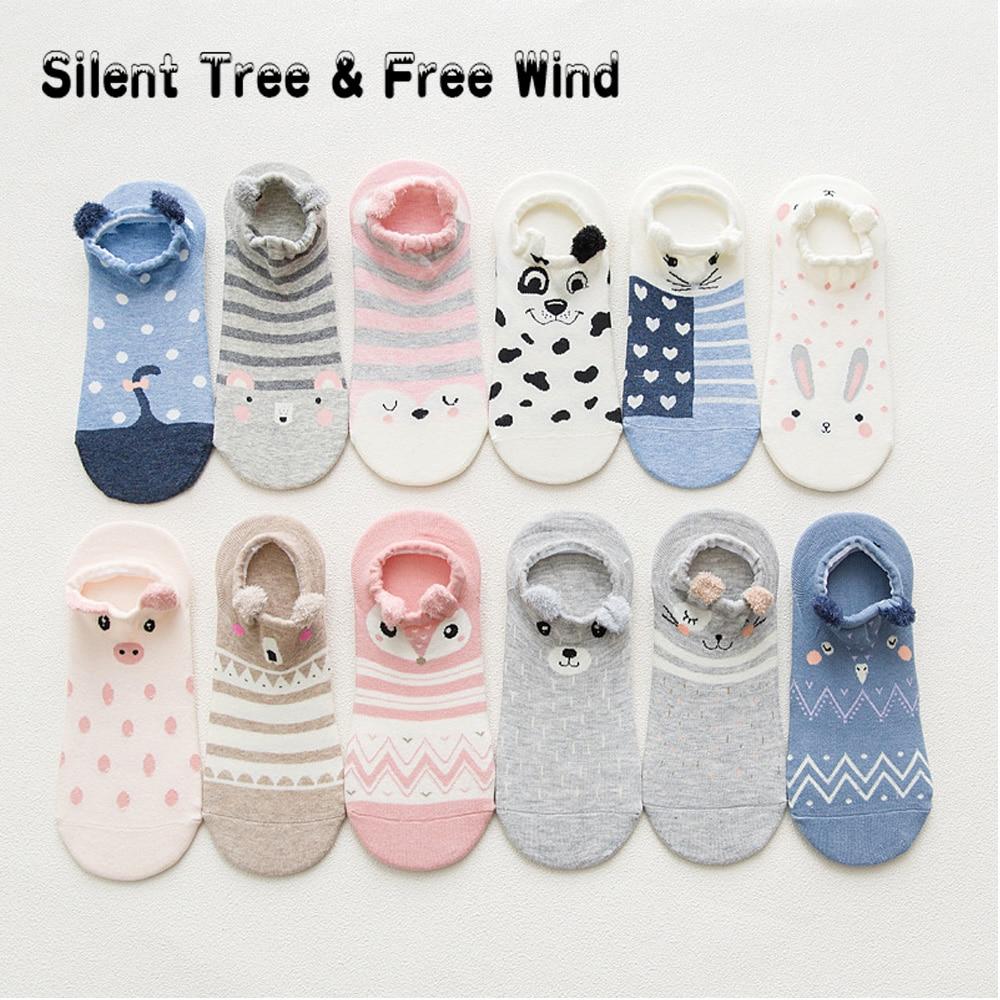 10 pairs/lot Kawaii Women's Animal Cartoon No Show Socks Cute Panda Rabbit Mouse Cat Pig Dog Ankle Sock