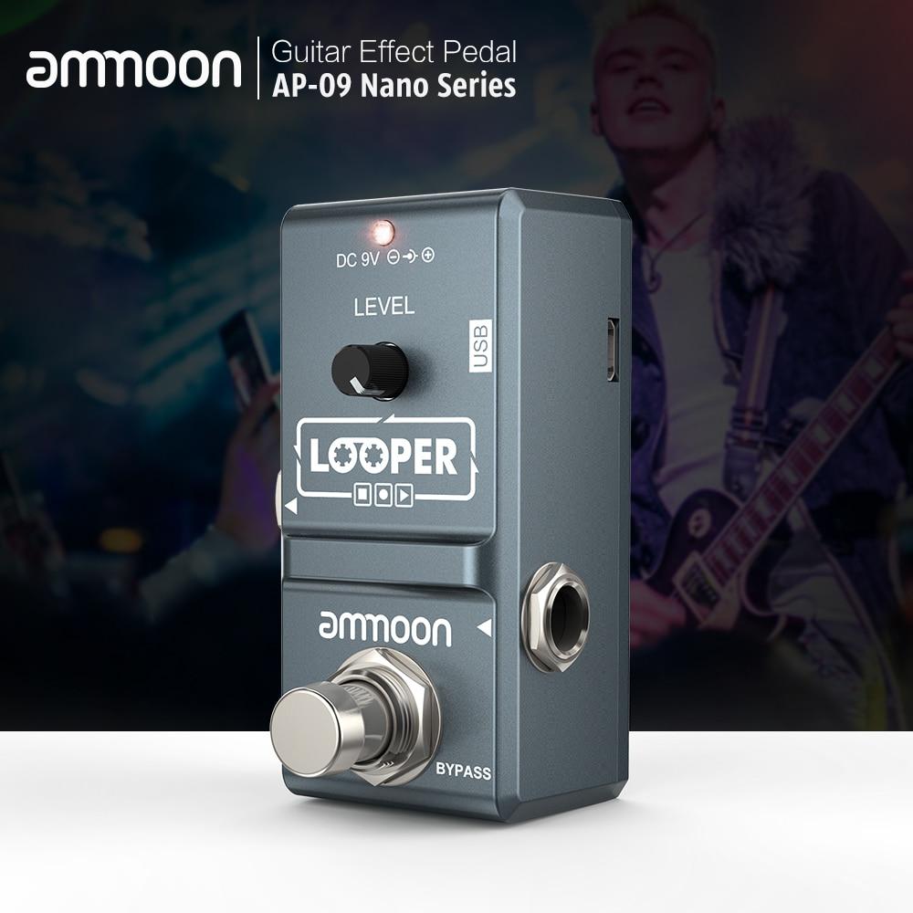 Ammoon AP-09 loop pedal de guitarra elétrica efeito pedal looper overdubs ilimitado 10 minutos gravação com cabo usb