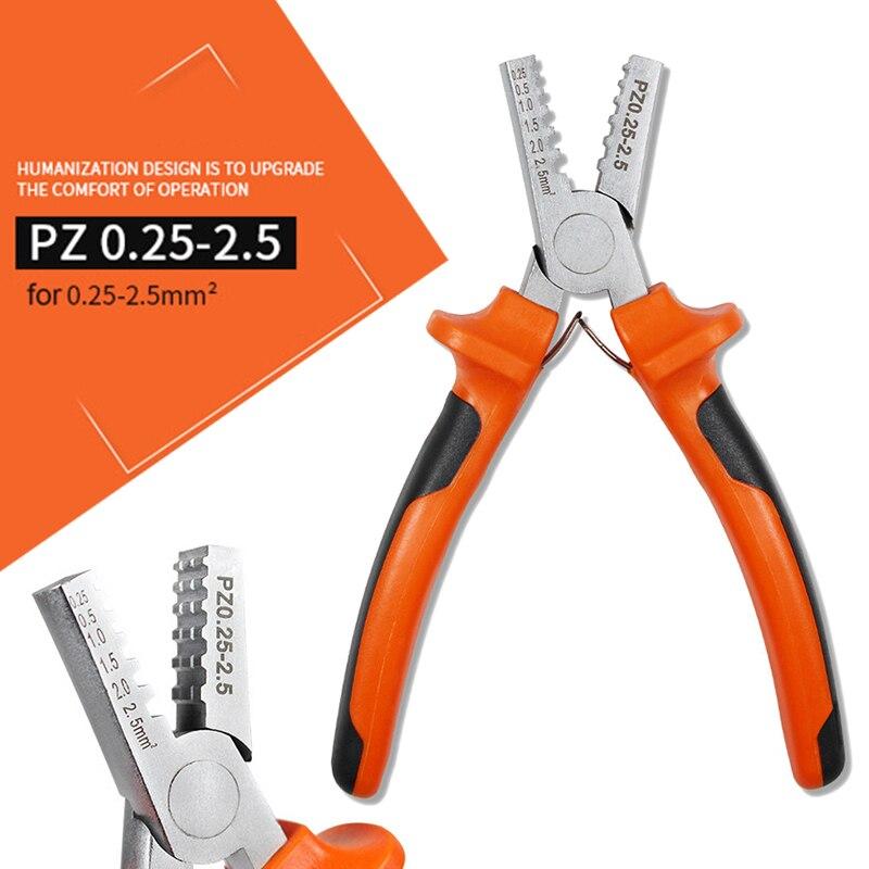 Profesional de acero al carbono que prensa alicates herramienta de mano 0,25-2.5mm2 manga Terminal engarzadora alicates alambre de extremo del Cable alicates