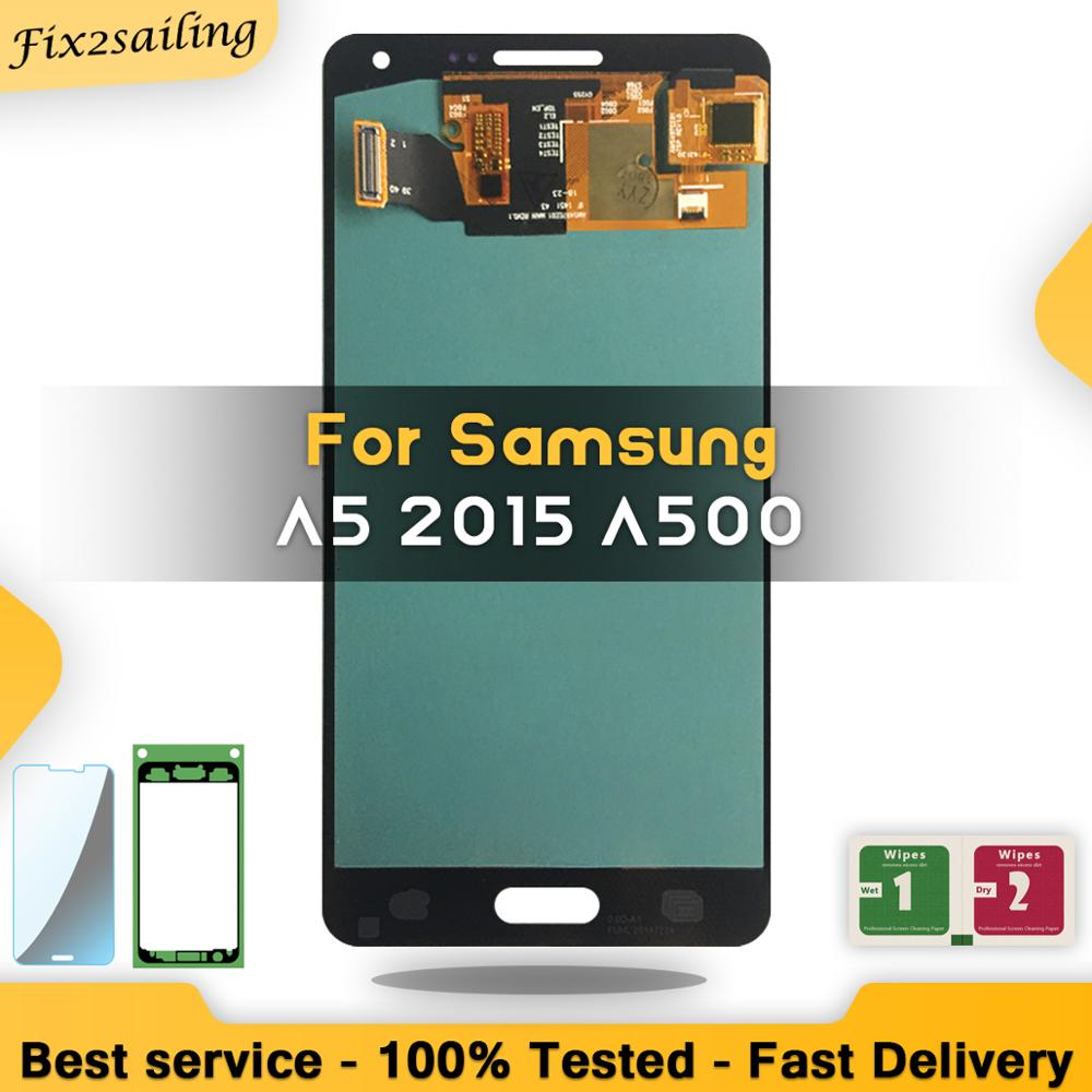 Super amoled display lcd para samsung galaxy a5 2015 a500 a500f a500fu a500h a500m lcd substituição da tela digitador assembléia teste