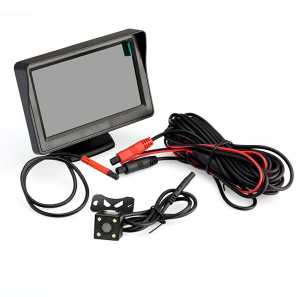 البيع المباشر 4.3 بوصة LED عرض سيارة الرؤية الخلفية شاشة كاميرا احتياطية عكس عدة للرؤية الليلية يناسب للنظام الكهربائي 12 فولت