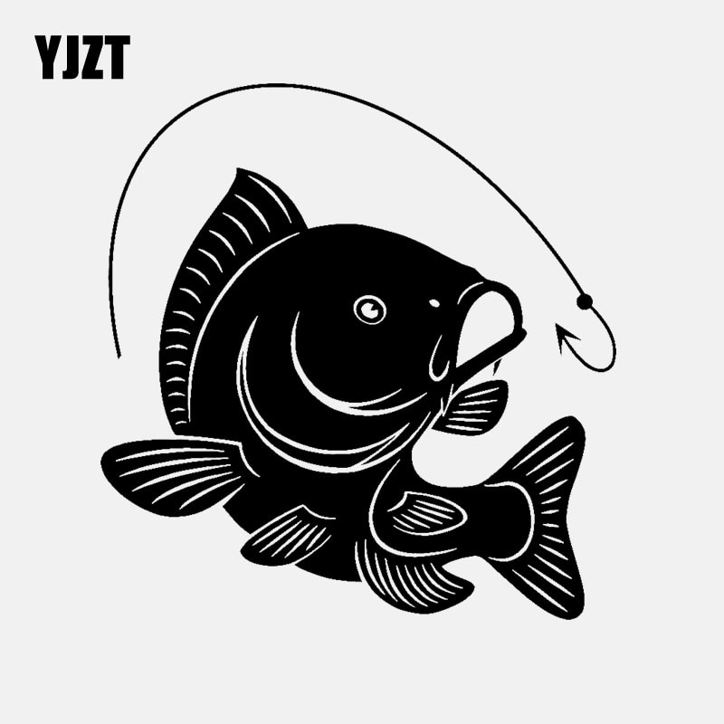 YJZT 14,1 см * 14,7 см Крючок для ловли карпа наклейка для автомобиля Виниловая Наклейка Декор Искусство рыбки рыболовы хобби черный/серебристый C24-0452