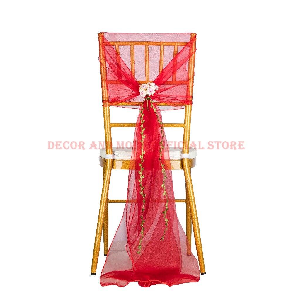 50 قطعة غطاء مقعد الأورجانزا الأحمر في الهواء الطلق الزفاف كرسي مأدبة للفنادق وشاح مع زهرة ديكور كرسي هود ل مقعد شيافاري بالجملة