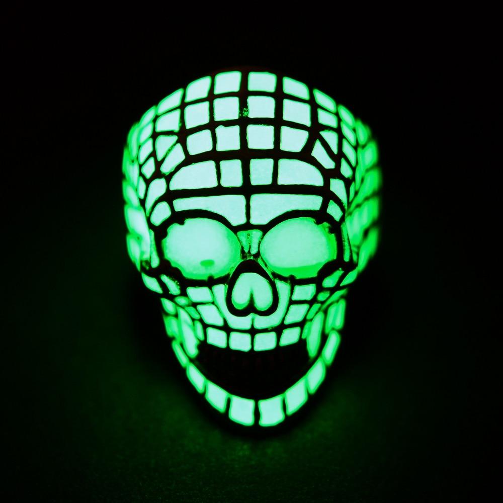 Stainless Steel Luminous skull Rings for Men Women Couple Rings Glow In The Dark Jewelry