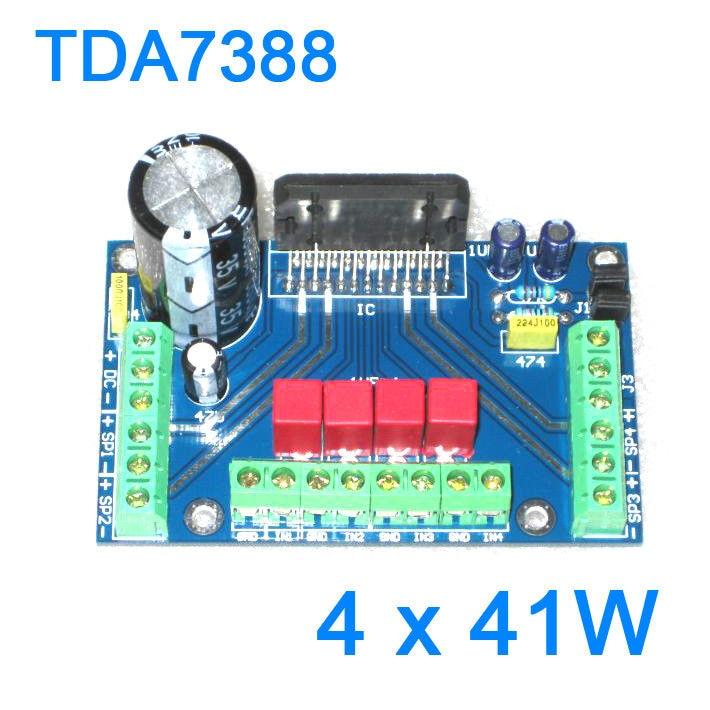 DYKB TDA7388 41W+41W+41W+41W 4 channel Audio Power Amplifier Board BTL for 12v Car Amp PC