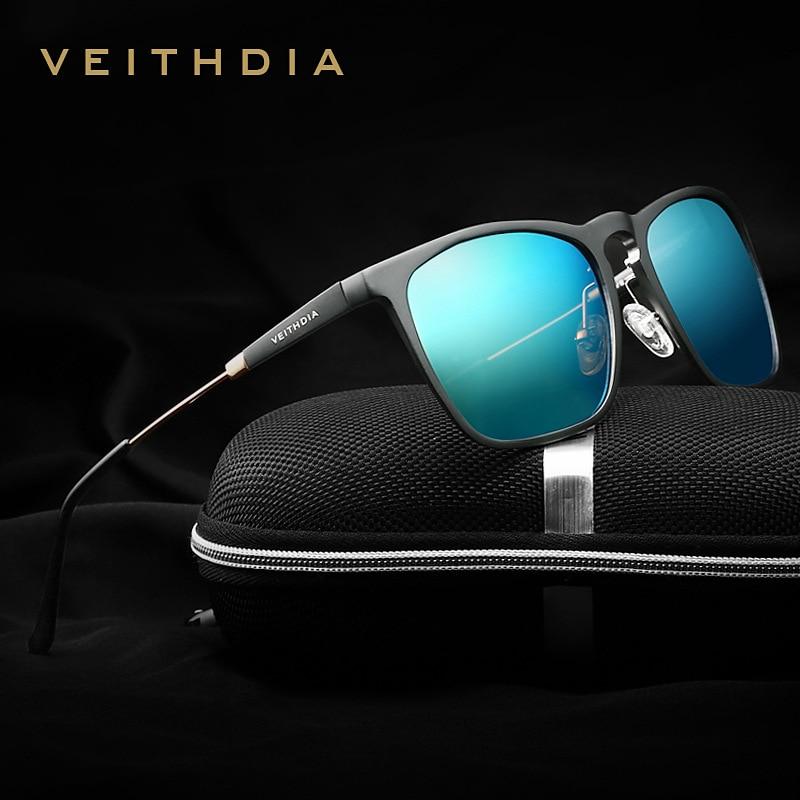 VEITHDIA, gafas de sol cuadradas Retro de aluminio para hombre, gafas polarizadas azules, accesorios Vintage, gafas de sol para hombre y mujer 6368