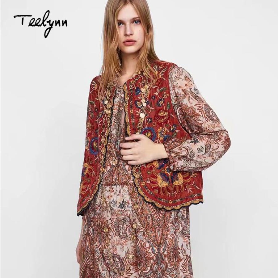 TEELYNN Boho veste en velours pour femmes automne orang paillettes florales broderie appliques sans manches vêtements dextérieur femmes vestes