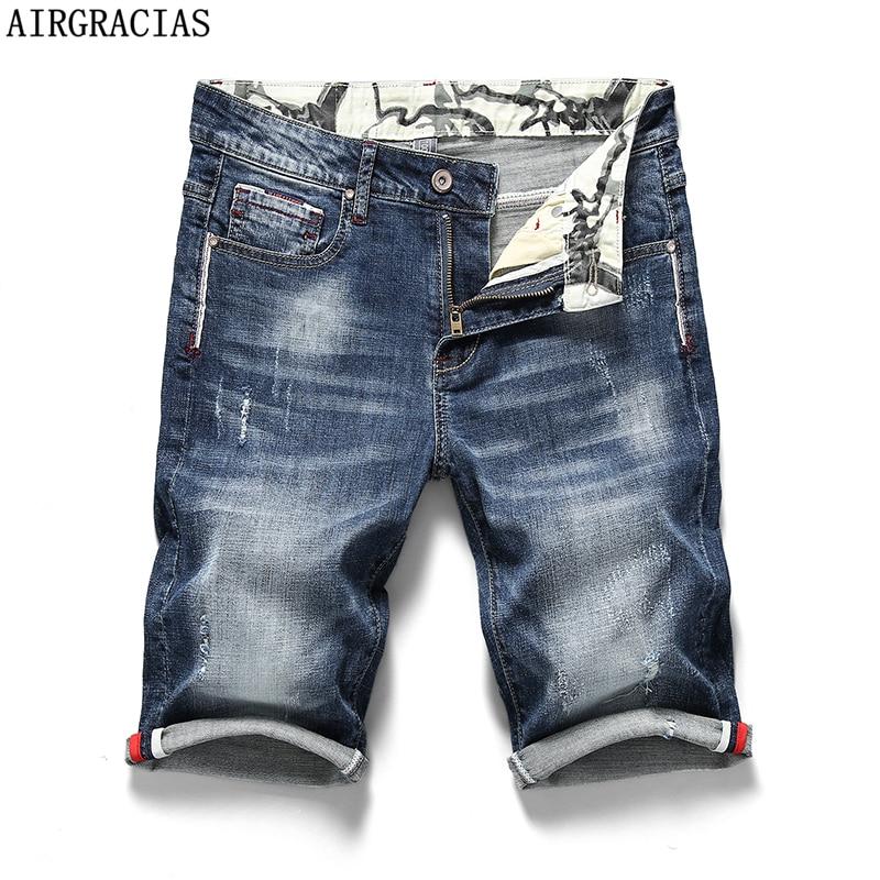 Airxxxl calção jeans masculina, calção jeans elástica e moderna para homens, roupa de marca, 2019 algodão, elástica, 98%